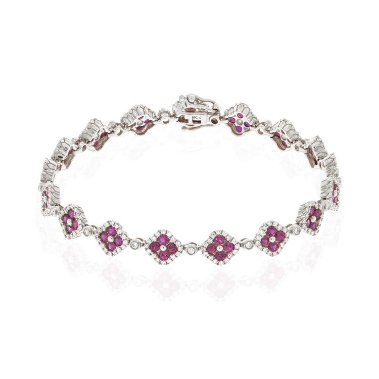 14k White Gold Ruby and Diamond Clover Bracelet - Chalmers Jewelers