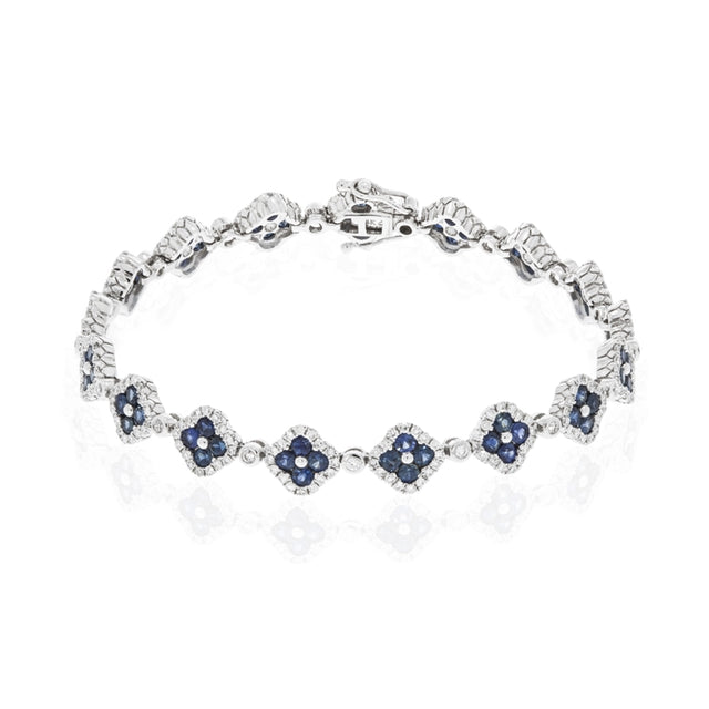 14k White Gold Sapphire and Diamond Clover Bracelet - Chalmers Jewelers
