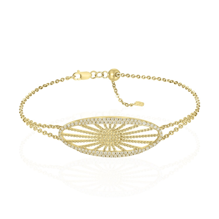 14k Yellow Gold Diamond Sunburst Bracelet