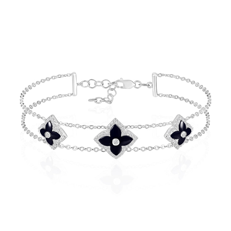 14k White Gold Mother of Pearl and Diamond Flower Bracelet - Chalmers Jewelers