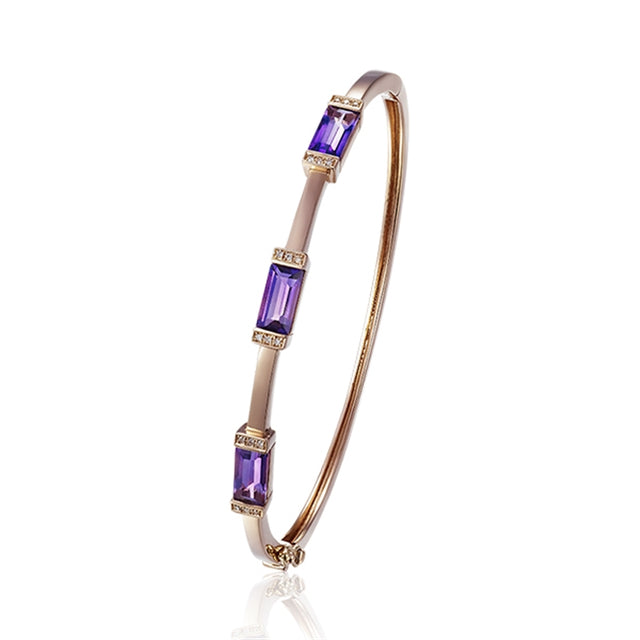 Amethyst 14kt Gold Bangle
