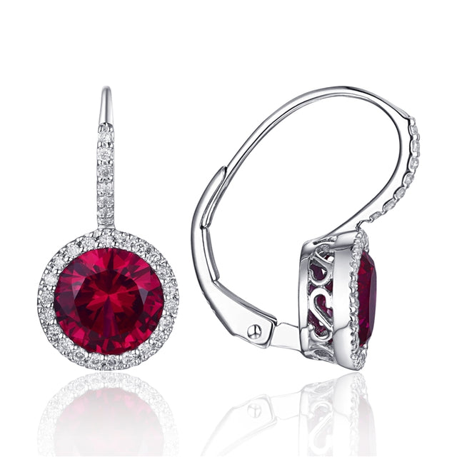 14K Gold Drop Ruby Earrings with Pave Diamond Halo - Chalmers Jewelers