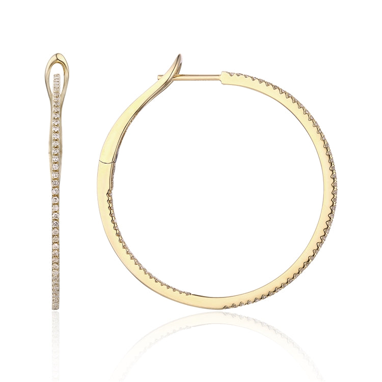 14k Gold Pave Diamond Hoop Earring - Chalmers Jewelers