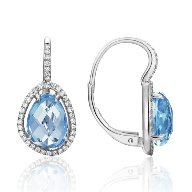 14K Gold Pave Diamond Earring with Blue Topaz Center Stone - Chalmers Jewelers