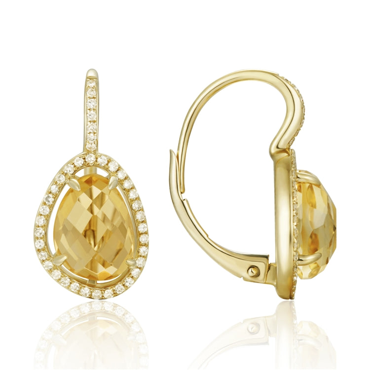 14K Yellow Gold Pave Diamond Earring with Citrine Center Stone - Chalmers Jewelers