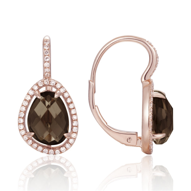 14K Rose Gold Pave Diamond Earring with Smoke Topaz Center Stone - Chalmers Jewelers