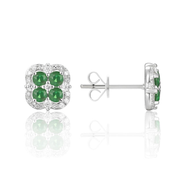 14k Gold Emerald and Pave Diamond Stud Earring - Chalmers Jewelers