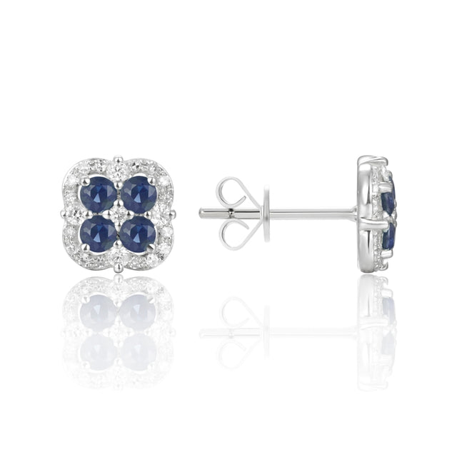 14k Gold Sapphire and Pave Diamond Stud Earring - Chalmers Jewelers