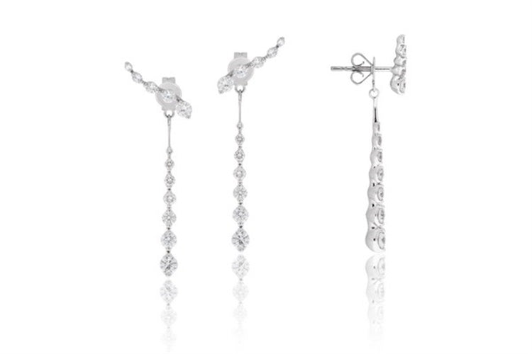 14k White Gold Diamond Drop Earring - Chalmers Jewelers