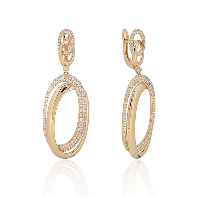 14k DIAMOND MICROPAVE INTERLOCKING OVALS EARRINGS