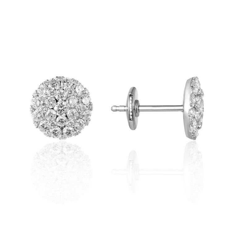 14k Gold Diamond Cluster Pave Stud Earring - Chalmers Jewelers