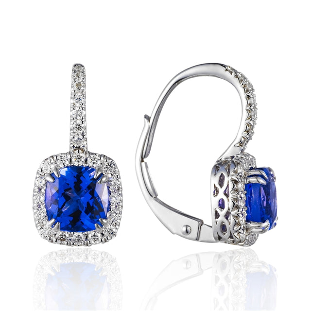 14k White Gold  Tanzanite and Pave Diamond Halo Earring - Chalmers Jewelers
