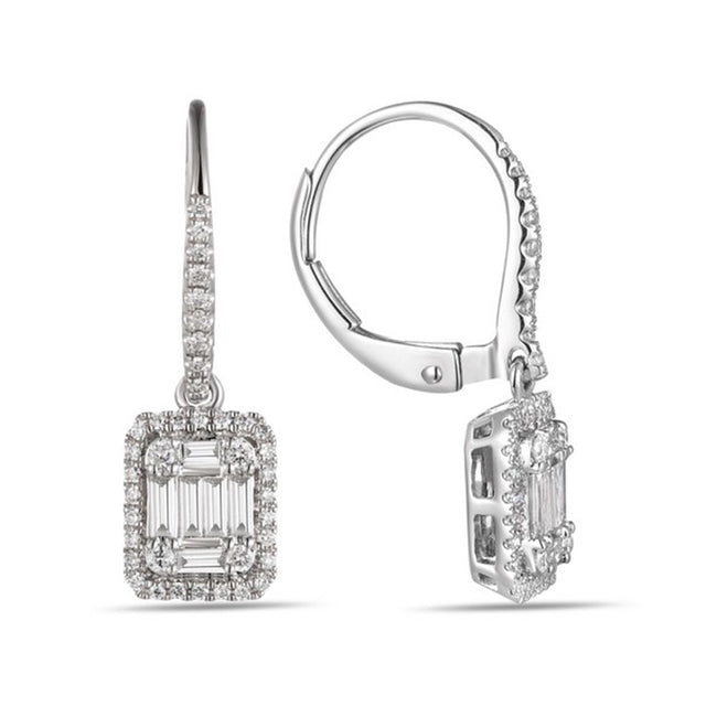 14k White Gold Baguette Diamonds Earrings - Chalmers Jewelers
