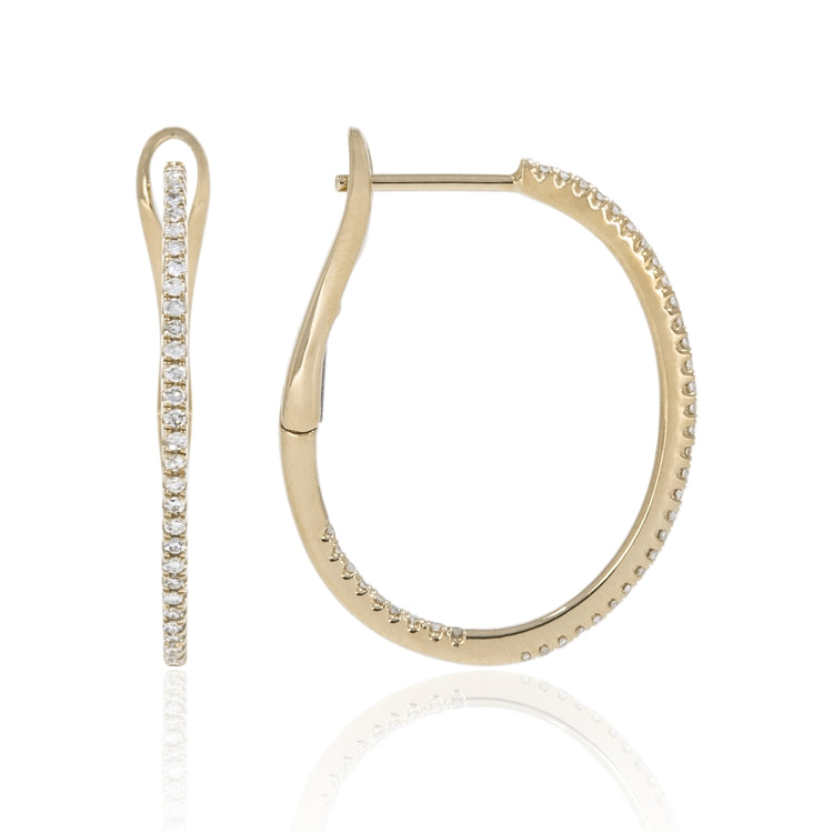 14k Gold Inside Out Diamond Hoop Earrings