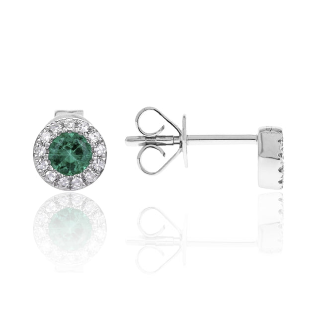 14k White Gold Emerald Earrings with Diamond Halo - Chalmers Jewelers