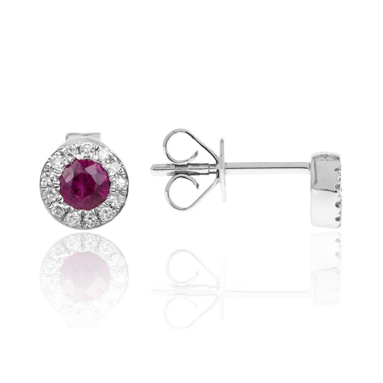 14k White Gold Ruby Earrings with Diamond Halo - Chalmers Jewelers