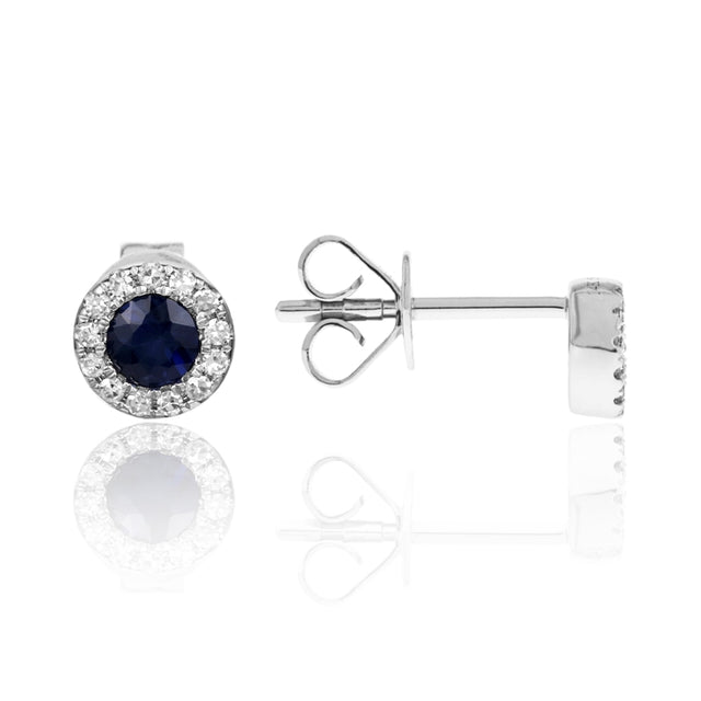14k White Gold Sapphire Earrings with Diamond Halo - Chalmers Jewelers