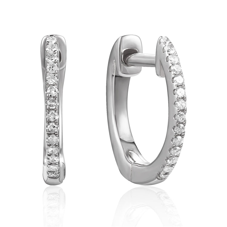 14k Gold Mini Diamond Hoop Earrings - Chalmers Jewelers