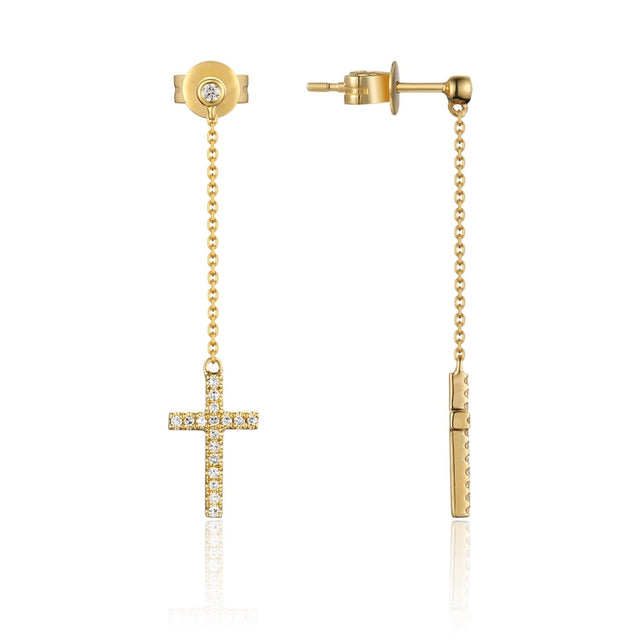 14k Gold Diamond Cross Dangle Earrings