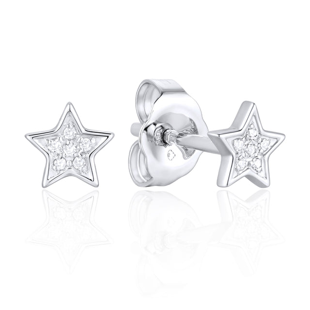 14k Gold Diamond Star Earring