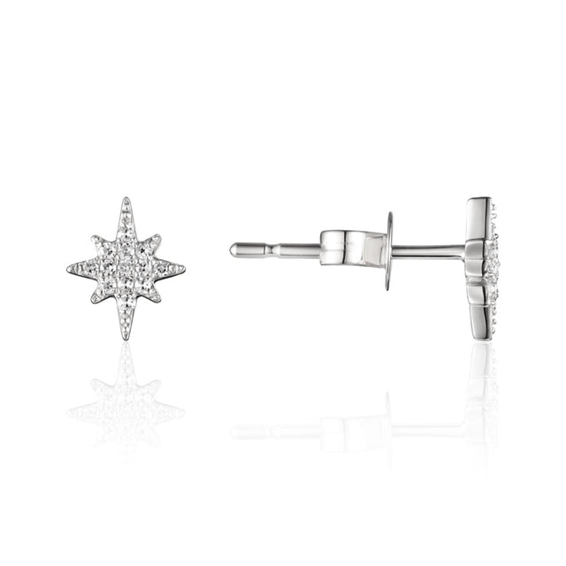 14k Gold Diamond Starburst Earrings