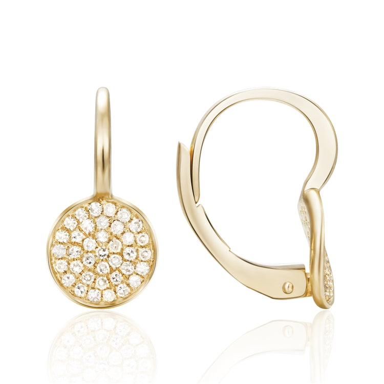 14k Diamond Pave Hoop Earrings