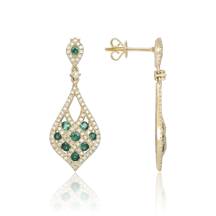 14k Yellow Gold Emerald and Diamond Earrings - Chalmers Jewelers