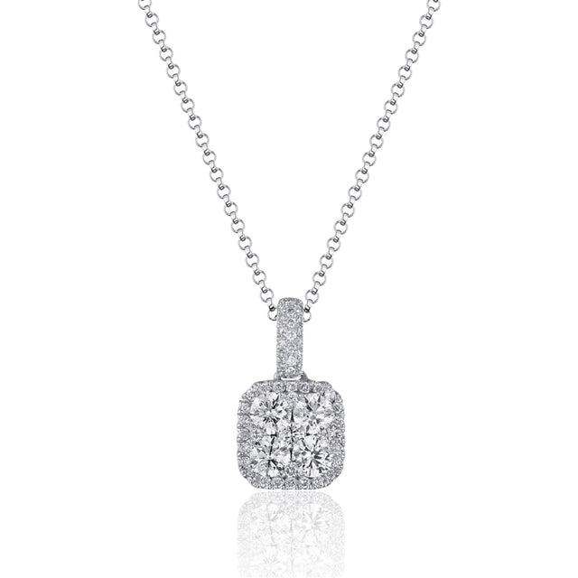 14k Diamond Cushion Halo Necklace