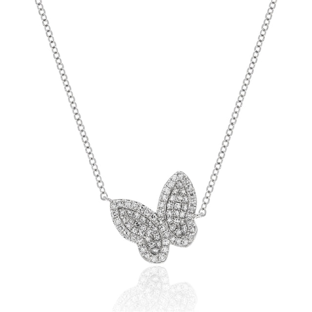 14k Diamond Butterfly Necklace
