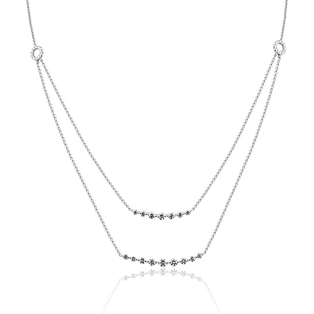 14k Double Diamond Bar Necklace