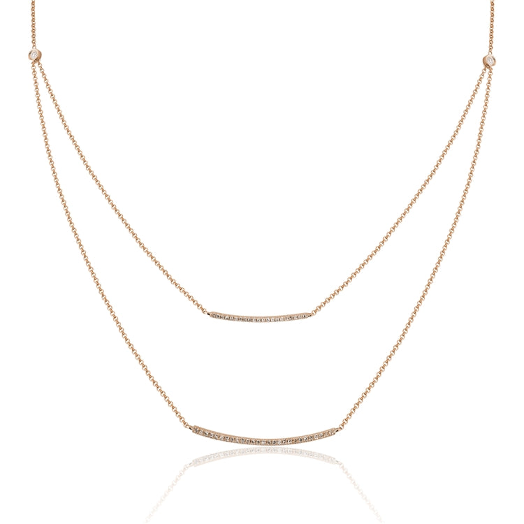 14k Gold Diamond Double Bar Necklace - Chalmers Jewelers