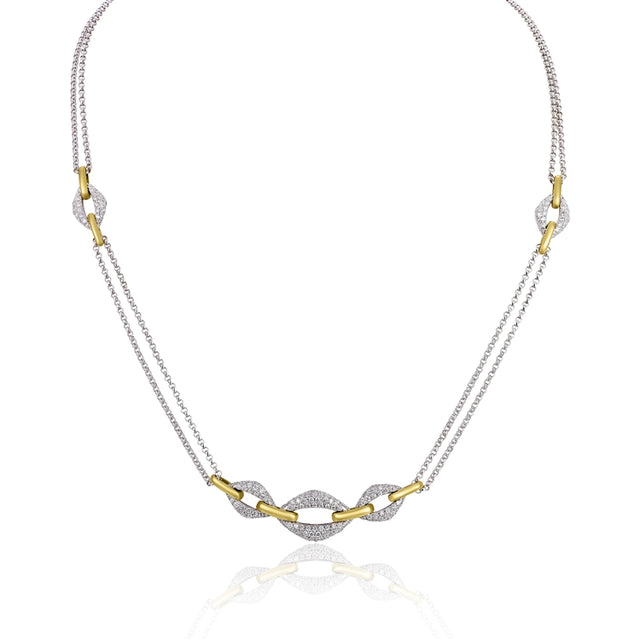 14k Two Tone Pave Diamond Necklace