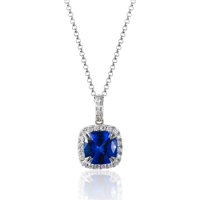 14k White Gold Tanzanite and Diamond Halo Necklace - Chalmers Jewelers