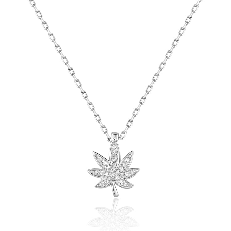 14k Diamond Leaf Necklace