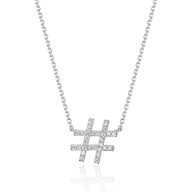 14k Diamond Hashtag Necklace