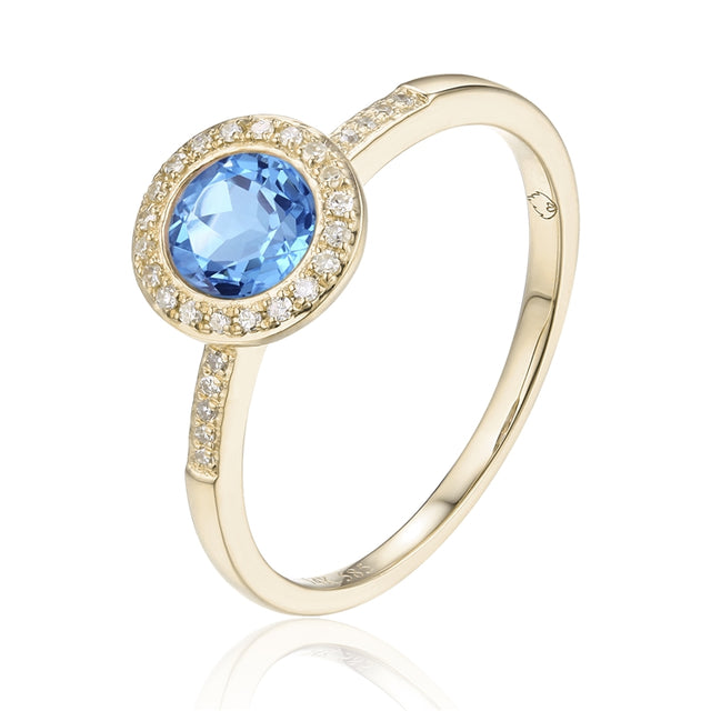 14k Gold Blue Topaz Halo Ring - Chalmers Jewelers