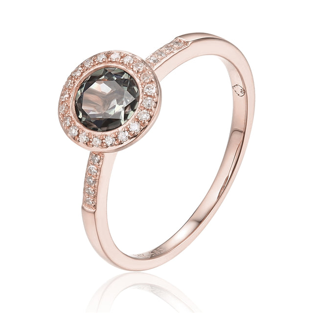 14k Rose Gold Green Amethyst Halo Ring - Chalmers Jewelers