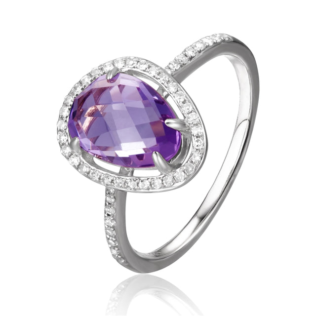 14k Gold Amethyst Diamond Halo Ring - Chalmers Jewelers