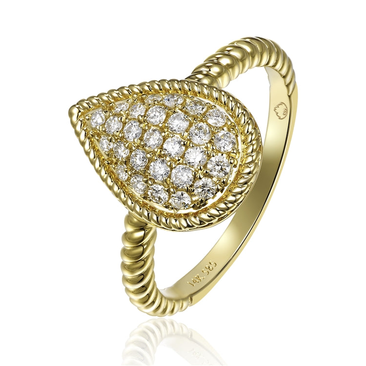 14kt Yellow Gold Pear Cluster Diamond Ring