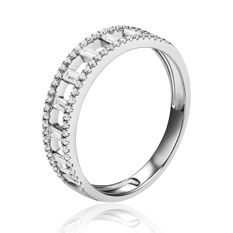 14k White gold baguette diamond band - Chalmers Jewelers