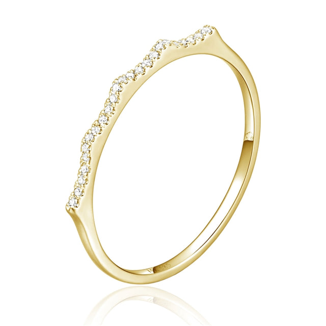 14k Stackable diamond crown ring - Chalmers Jewelers
