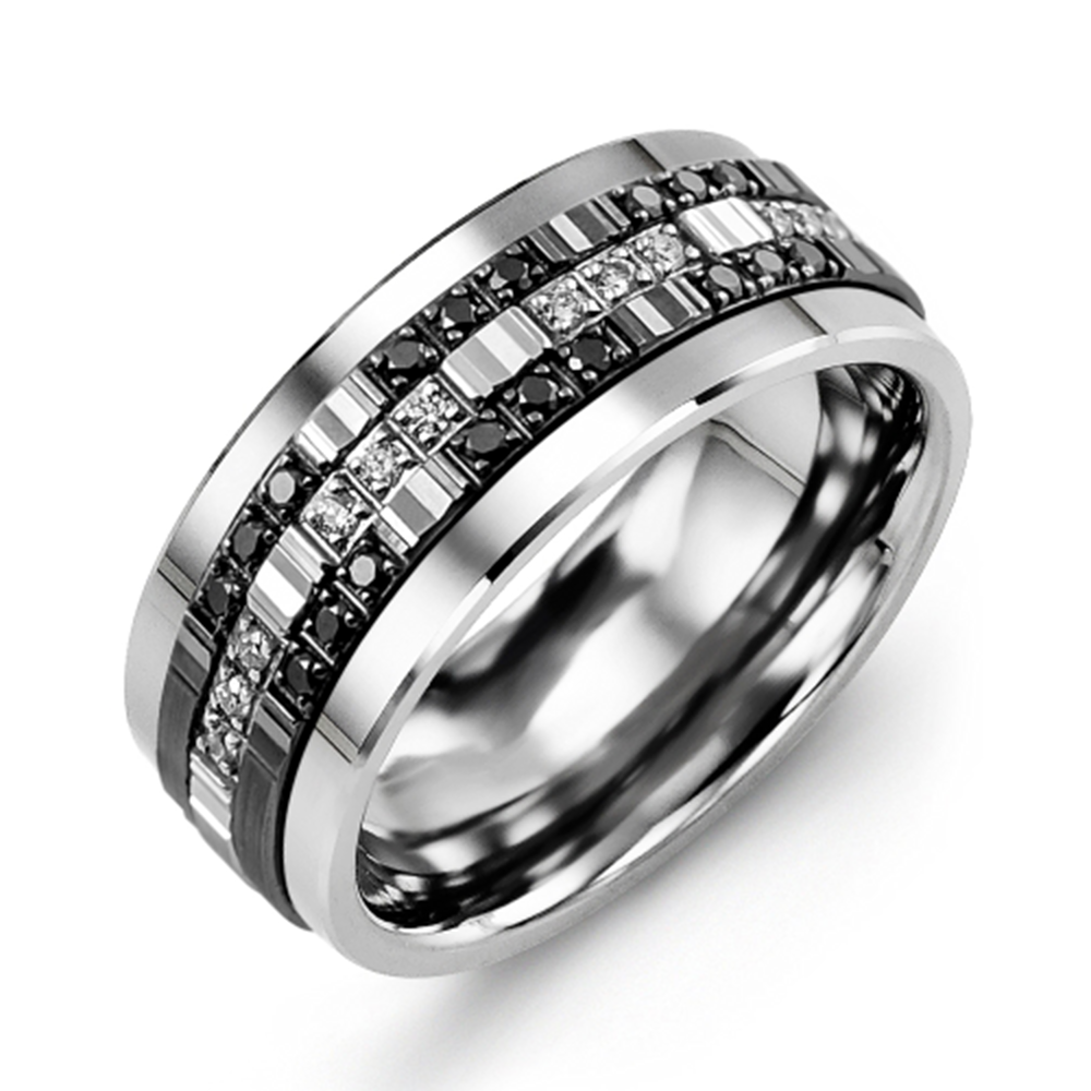 Trio Monochrome Diamond Wedding Band