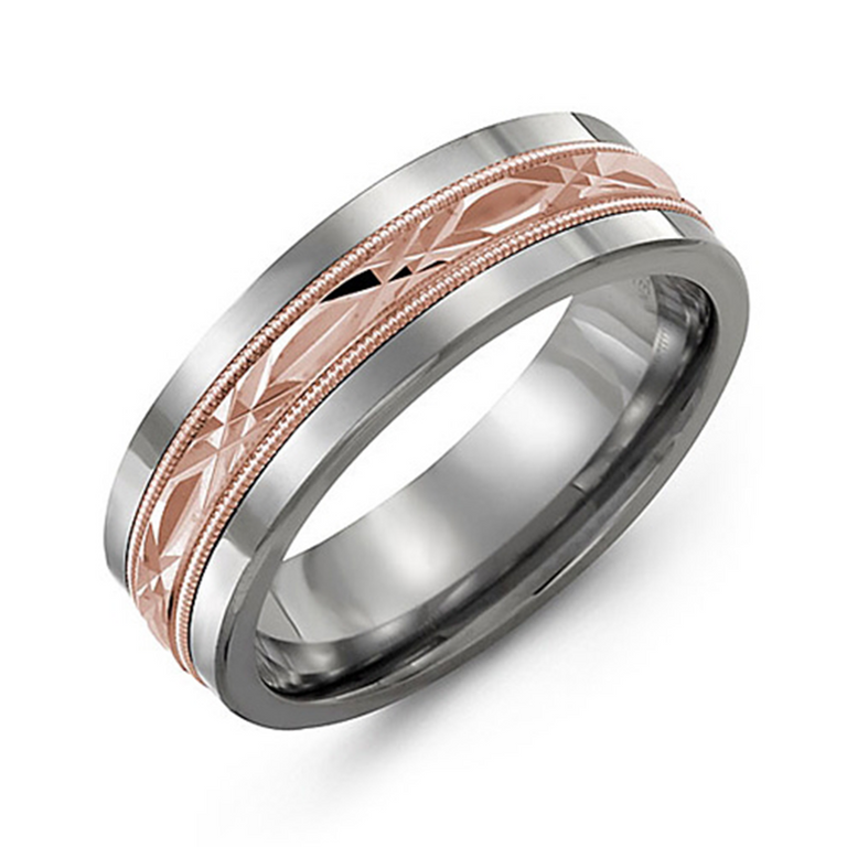 Wedding band with diamond cut inlay and milgrain edge - six metal options available