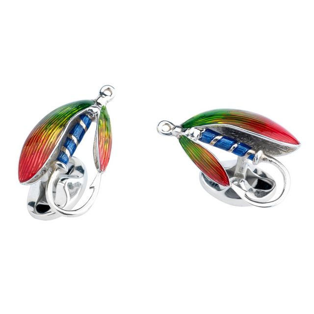 Deakin & Francis Silver Fishing Fly Cufflinks - Chalmers Jewelers