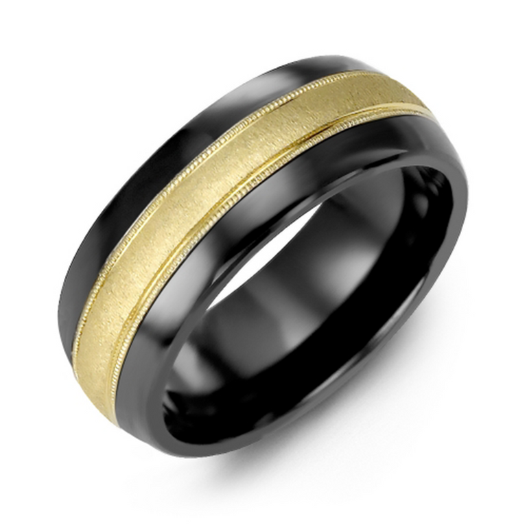 Domed wedding band with brushed metal inlay and milgrain edge - top view