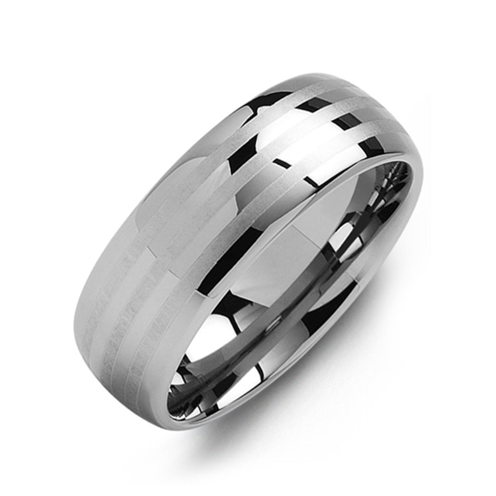 Multi-Stripe Tungsten Wedding Band