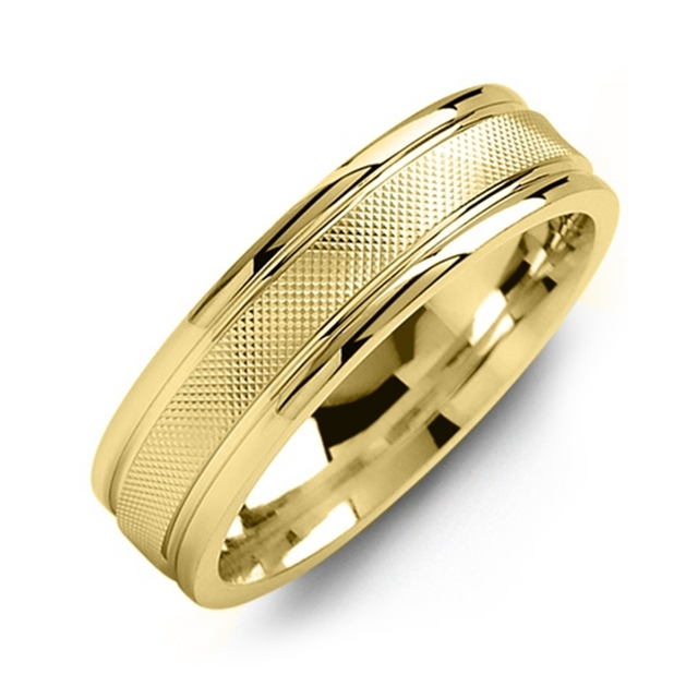 Classic Polished Edges Gold Wedding Band