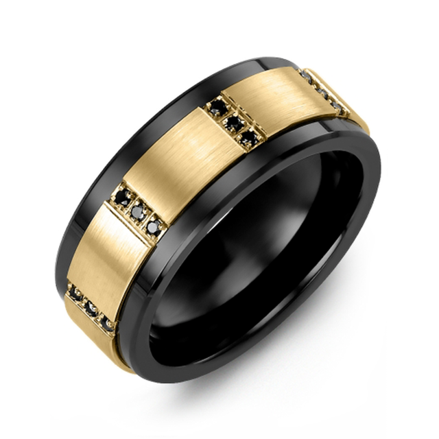 Trio Vertical Black Diamonds Wedding Band