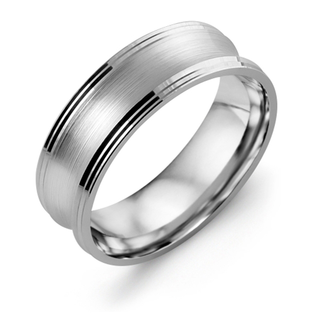 Concave Brush Wedding Band