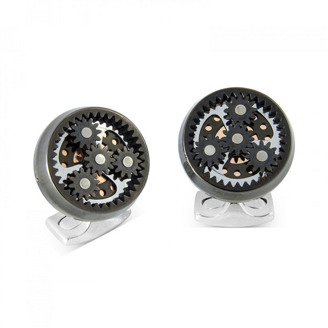 Deakin & Francis Sun & Planet Gear Cufflinks – Gunmetal Black - Chalmers Jewelers